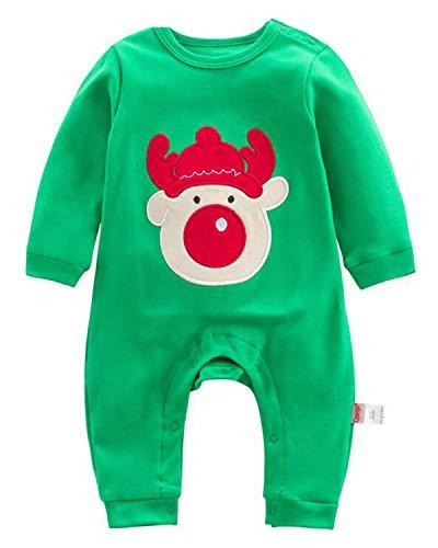 Kidsform Unisex Baby Christmas Print Costume Bodysuit Long Sleeve Footed Romper Onesie Onepiece