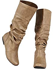 Syktkmx Womens Slouched Knee High Boots Winter Fall Wide Calf Flat Low Heel Cuff Boots