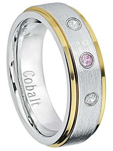 - Jewelry Avalanche 6MM Comfort Fit Brushed 2-Tone Yellow Gold Edge Women's Cobalt Chrome Wedding Band - 0.21ctw Pink Tourmaline & Diamond 3-Stone Cobalt Ring -12