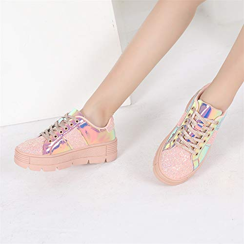 MACKIN J 334-1 Women's Lace Up Platform Sneakers Glitter Patchwork Causal Sneakers