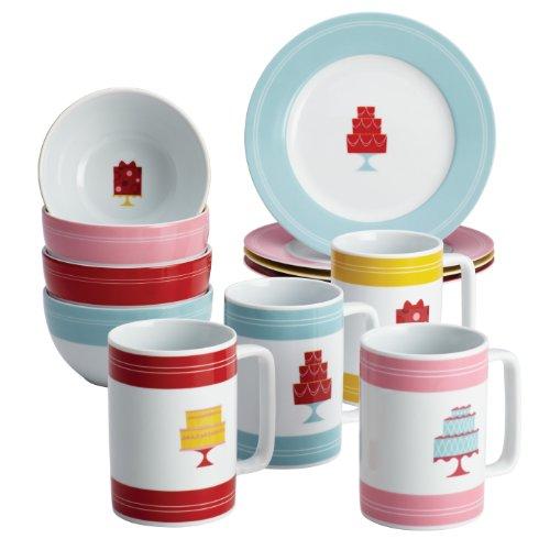 Cake Boss Serveware 12-Piece Set, Porcelain Dessert Plates, Bowls & Mugs, Mini Cakes Pattern, Print