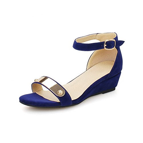 AllhqFashion Women's Buckle Open Toe Low-Heels Imitated Suede Solid Wedges-Sandals, Blue, - With Overnight Shipping Free Stores
