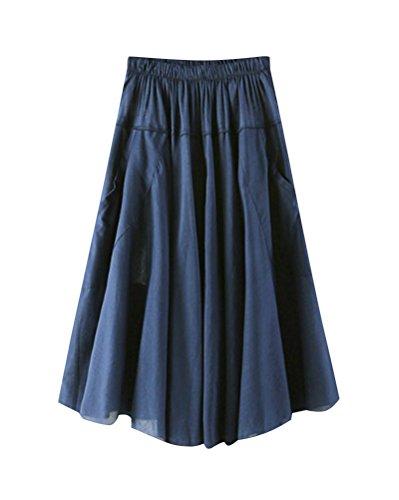 Femmes Lin Couleur Pure Jupe vase t lgant A-Ligne lasticit Taille Haute Genou Longueur Grande Taille Maxi Jupe Plisse Couleur 3