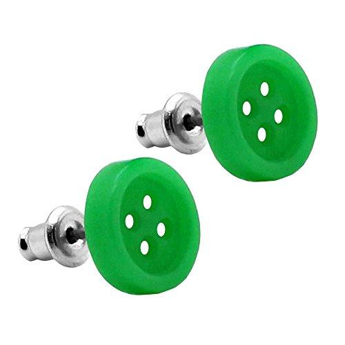 2 clous d'oreille bouton piercing fakeplug vintage retro vert