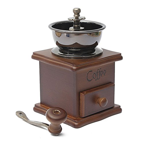 Raza New Manual Coffee Grinder Retro Wood Design Coffee Mill Maker Grinders Coffee Bean Grinder Hand Conical Burr Grind by Raza