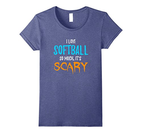 Womens I Love Softball T-Shirt as Funny Scary Halloween Gift Small Heather Blue - Softball Player Costumes