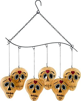 day of the dead skull glass metal wind chime halloween gothic decor new