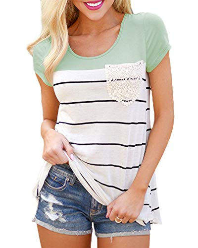 Hiistandd Womens Summer Short Sleeve Shirt Striped Color Block Casual Tops with Pocket Green (Casual Blocks)