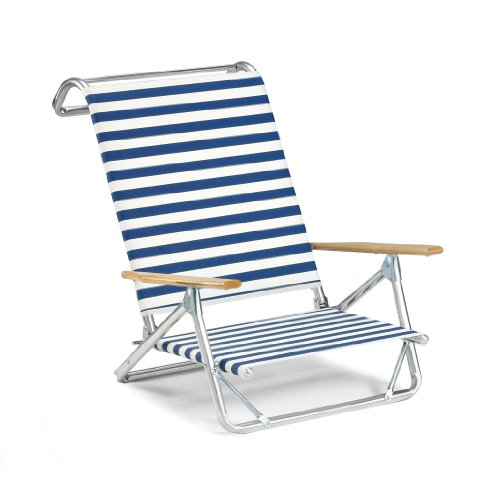 Telescope Casual Original Mini-Sun Chaise Folding Beach Arm Chair, Blue/White Stripe-(74113601) (Blue Stripe High Chairs)