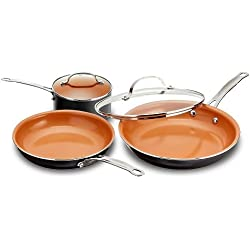 "Gotham Steel 5 Piece Back to College Cookware Set with Easy to Clean Copper Surface Includes Multi Use Pan, 2 qt. Pot and 11"" Fry Pan w Lid"