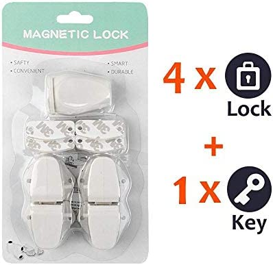 Baby Proofing Safety Cabinet Locks Child Safety Pack of 4 Womdee Eco-Baby Magnetic Infant Kids Safety Lock for Drawers And Cabinets Kitchen Child Proof Cabinet Locks