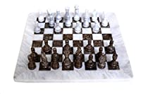 RADICAL Handmade White and Grey Oceanic Marble Full Chess Game Original Marble Chess Set