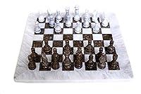 RADICAL Handmade White and Grey Oceanic Marble Full Chess Game Original Marble Chess Set