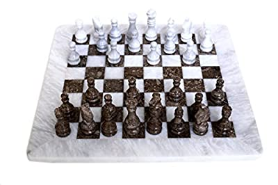 RADICALn Handmade White and Grey Oceanic Marble Full Chess Game Original Marble Chess Set