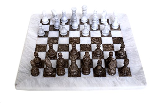 (RADICALn White and Grey Oceanic Handmade Weighted Marble Popular Classic Staunton Tournament Chess Set - Non Go Non Othello Non Magnetic - Ambassador Gift Style Logic Play Board Chess Game)
