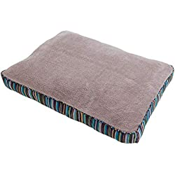 Petmate Microban Pet Bed Petmate Deluxe Pillow Bed with Microban, Gusseted BLUE/Gold Striped Chenille, 27-inch X 36-inch
