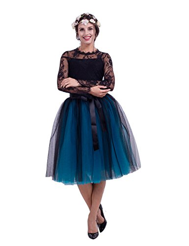 Lady's Princess Tulle Skirt Midi Knee Length Pleated Tutu Skirts for Prom Party(Black & Blue) ()