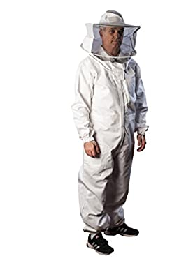 FOREST BEEKEEPING SUPPLY Beekeeping Suit - Round Veil/hood - 100% Cotton - Comfortable with Maximum Protection - Commercial & Beginner Beekeepers