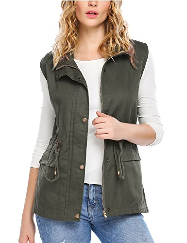 Zeagoo Womens Casual Work Utility Hunting Travels Sports Vest with Pockets, Army Green, XL by Zeagoo (Image #2)