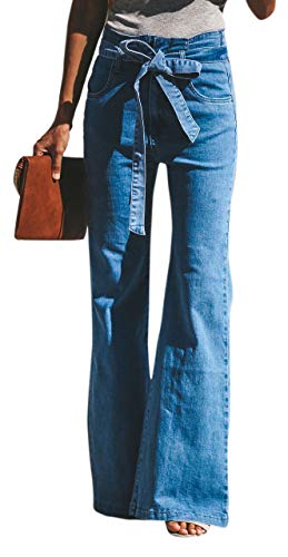 GUNLIRE Women's Juniors Sky Blue Bell Bottom Flare Jeans High Waisted Stretch Wide Leg Long Pants with Belts