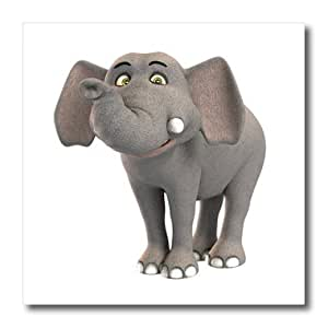 ht_180999_2 Boehm Graphics Cartoon - A baby cartoon elephant smiling - Iron on Heat Transfers - 6x6 Iron on Heat Transfer for White Material