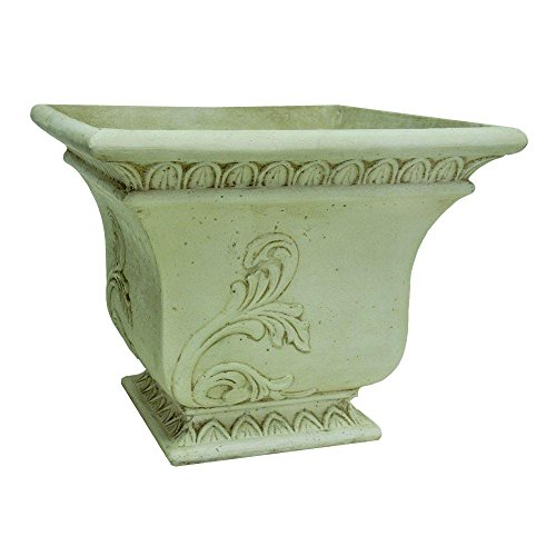 MPG 16 in. Cast Stone Square Tapered Planter in Aged White Finish ()