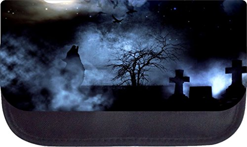 Wolf Howling in a Graveyard Under the Moonlight Pencil Case Made in the U.S.A.