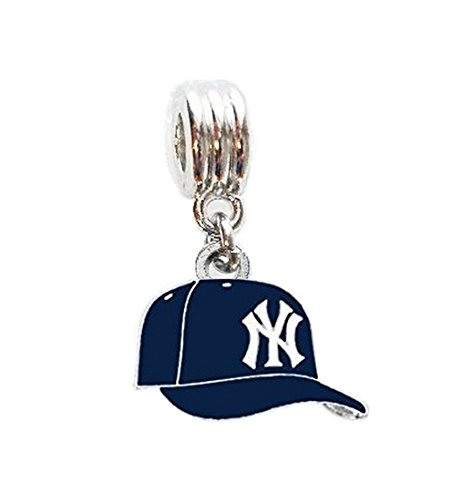 NY NEW YORK YANKEES BASEBALL CAP TEAM CHARM SLIDER PENDANT FOR YOUR NECKLACE EUROPEAN CHARM BRACELET (Fits Most Name Brands) DIY PROJECTS ETC