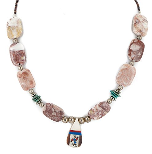 $250 Retail Tag Authentic Kachina Inlay Made by Charlene Little Navajo Silver Natural Turquoise Agate Native American Necklace