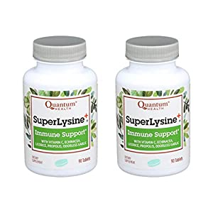 Quantum Health Super Lysine+ / Advanced Formula Lysine+ Immune Support with Vitamin C, Echinacea, Licorice, Propolis, Odorless Garlic (90 Tablets)