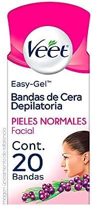 Veet Bandas depilatorias faciales de Cera Fría para Piel Normal caja con 20 bandas