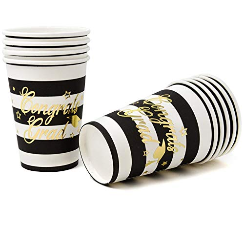 Gift Boutique 50 Graduation Party Cups 2019 9 Ounces Paper in Gold Foil Congrats Grad on Black Elegant Party Supplies Decorations