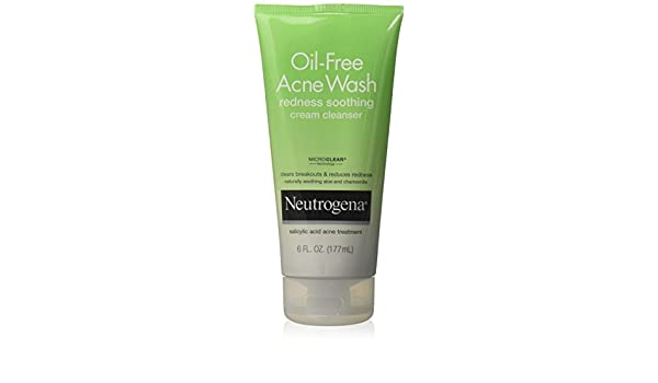 Neutrogena Oil-Free Acne Wash Redness Soothing Cream Cleanser, 6 Ounce: Amazon.es: Belleza