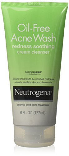 Neutrogena Oil-Free Acne Wash Redness Soothing Cream Facial Cleanser, 6 Fl. Oz.
