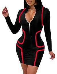5c4da7e1c745 Women s Sexy Zip Front Plus Size Bodycon Club Mini Dresses