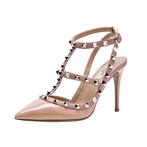 - Kaitlyn Pan Pointed Toe Studded Strappy Slingback High Heel Leather Pumps Stilettos Sandals (5.5US/35EU/35CN, Nude Patent/Nude Straps/Gold Studs)