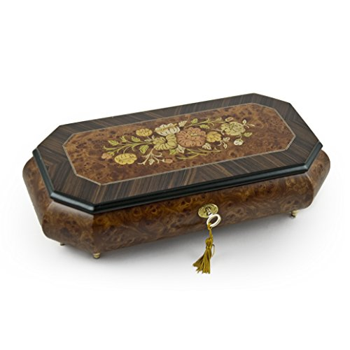 (Traditional Floral Motif Wood Inlay Cut Corner Music Jewelry Box - Over 400 Song Choices - Tavern in the Town (Pop Tune) SWISS)
