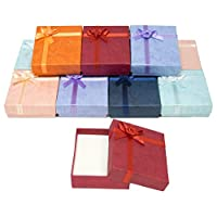 "888 Display USA, Inc Cardboard Jewelry Bangle Gift Boxes with Rosebug Bows in Assorted Colors 2.5"" X 2.8"" X 0.75"" (Pack of 8)"