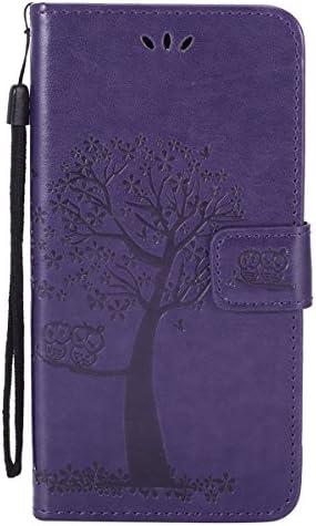 Qjuegad Kompatibel mit Samsung Galaxy A6 Plus 2018 Hülle Wallet Case Flip Cover PU Leder Baum und Eule Muster Flipcase