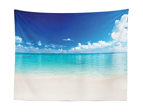 (Lunarable Ocean Tapestry, Natural Coastal Sandy Beach and Carribean Seashore Heavenly Paradise View Image, Fabric Wall Hanging Decor for Bedroom Living Room Dorm, 28 W X 23 L inches, Blue Aqua White)
