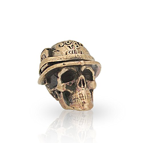 Paracord Skull Bead for Making DIY Bracelet or EDC Lanyard - Unique Design - Hand-Cast in Solid Brass, Blackened & Polished from Unique Handmade Arts & Crafts