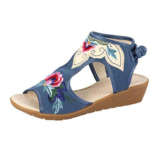 LUCAMORE Womens Wedges Sandals Open Toe Hemp Ankle Strap Retro National Embroidered Shoes