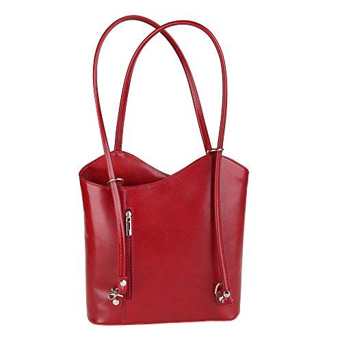 Borse bandoulière Cm véritable cuir en Rouge Chicca Fabriqué Sac 28x30x9 femme à en Italie axwwd7q