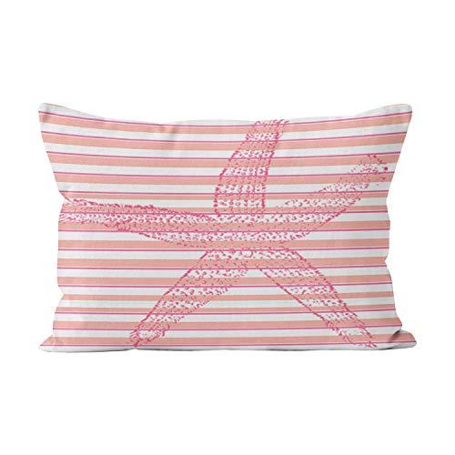 Wesbin Peach Hot Pink White Stripe Starfish Funny Hidden Zipper Home Decorative Rectangle Throw Pillow Cover Cushion Case 20x30 Inch Queen One Side Design Printed Pillowcase ()