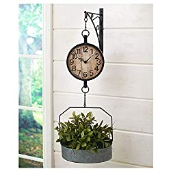 LA&PH Metal Clock Hanging Wall Mounting Basket Plant Flower Home Decor Rustic Countryside Antique Style Wall-Mounted Farm House Clock