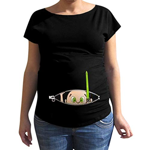 Mysky Maternity Tops,Fashion Pregnant Women Funny Cartoon Pr