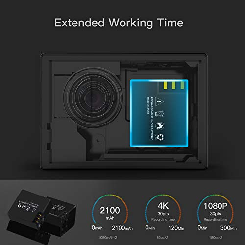 Action Camera, ABOX 608TA 4K 16MP WiFi Sport Cam 30M Waterproof Camcorder with Touch Screen/Dual Screen Display, 170°Wide-Angle Len,2.4G RF Remote, 2 Rechargeable Batteries and Accessories Kit by ABOX (Image #7)