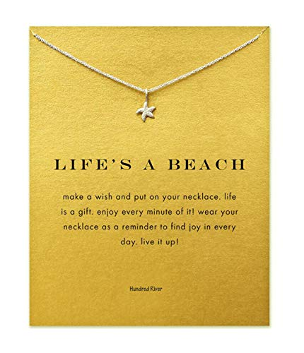 Hundred River Friendship Starfish Necklace with Message Card Gift Card(Starfish Sliver)