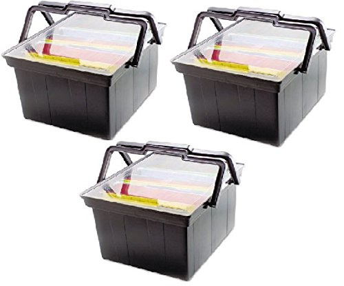 Portable Advantus Companion File - ADVANTUS Companion Letter/Legal Portable Plastic File Box, Includes Lid and Handles, 17 x 14 x 11 Inches, Black (TLF-2B) - Pack of 3