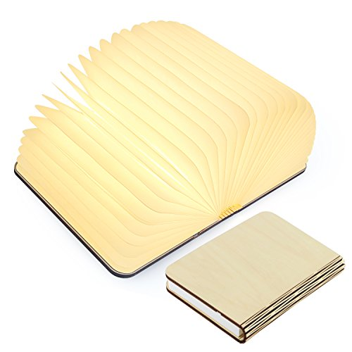 Wooden Folding Book Light, Magicfly USB Rechargable Book Shaped Light Warm White Led Desk Table Lamp for Decor, Magnetic Design- Creative gift for Birthday,Lovers,Holiday